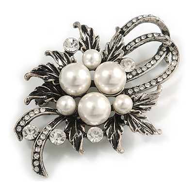 Vintage Inspired Crystal, Pearl Floral Brooch in Aged Silver Tone - 63mm Across