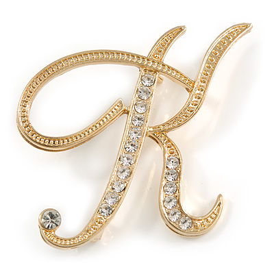 'K' Gold Plated Clear Crystal Letter K Alphabet Initial Brooch Personalised Jewellery Gift - 50mm Tall