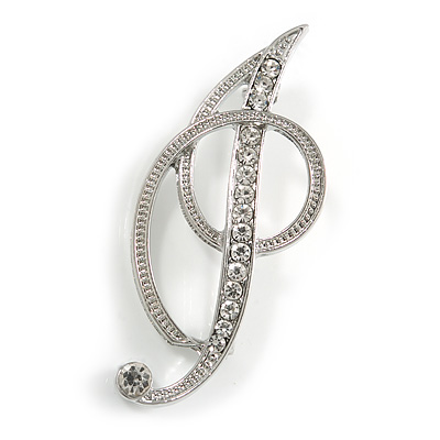'I' Rhodium Plated Clear Crystal Letter I Alphabet Initial Brooch Personalised Jewellery Gift - 50mm Tall