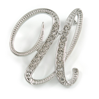 'U' Rhodium Plated Clear Crystal Letter U Alphabet Initial Brooch Personalised Jewellery Gift - 40mm Tall