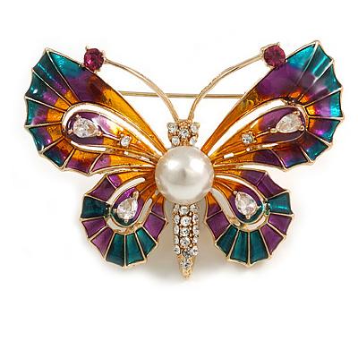 Multicoloured Enamel Crystal with Faux Pearl Butterfly Brooch In Gold Tone - 53mm Across