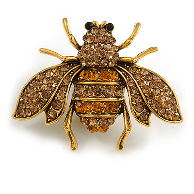 Vintage Inspired Champagne/ Amber Crystal Bee Brooch In Aged Gold Tone Metal - 48mm Across