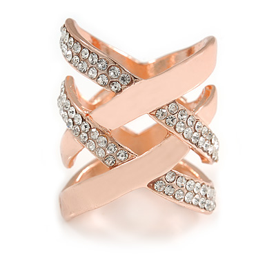 Fancy Women's Clear Crystal Scarf Ring Clip Slide in Rose Gold Tone Metal - 30mm Tall