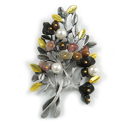 Vintage Inspired Multi Semiprecious Stone Faux Pearl Floral Brooch/ Pendant In Pewter Tone Metal - 75mm Across