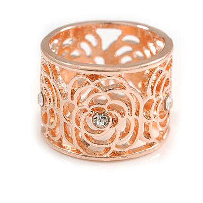 Fancy Women's Scarf Ring Clip Slide in Rose Gold Tone Metal with Rose Flower Motif - 17mm Tall