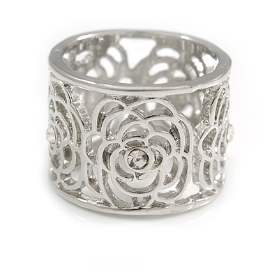 Fancy Women's Scarf Ring Clip Slide in Silver Tone Metal with Rose Flower Motif - 17mm Tall