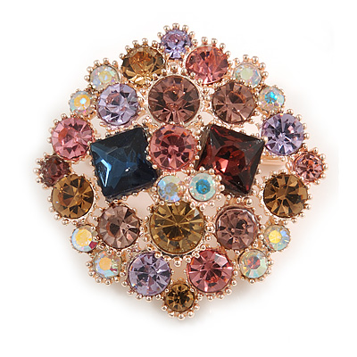 Statement Multicoloured Square Cluster Brooch In Rose Gold Tone - 40mm Across