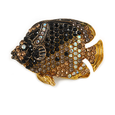 Statement Crystal Fish Brooch In Gold Tone (Black/ Citrine/ AB/ Grey) - 47mm Across