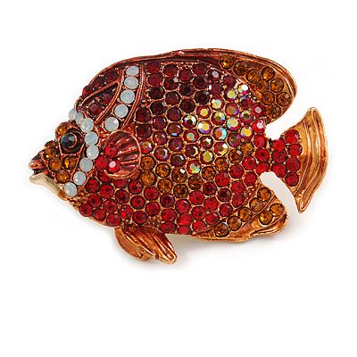 Statement Crystal Fish Brooch In Gold Tone (Red/ Burgundy/ Orange) - 47mm Across