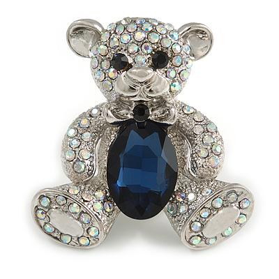 AB Crystal Dark Blue Glass Stone Teddy Bear Brooch/ Pendant In Silver Tone - 45mm Long