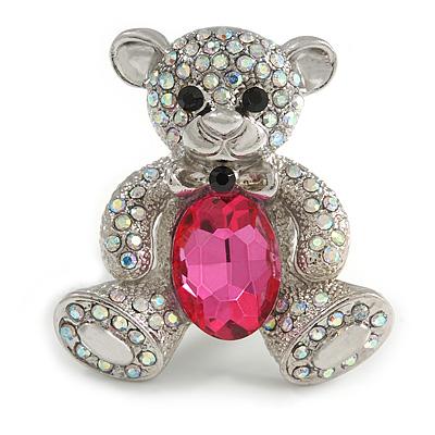 AB Crystal Fuchsia Glass Stone Teddy Bear Brooch/ Pendant In Silver Tone - 45mm Long