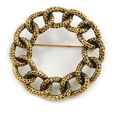 Vintage Inspired Textured Wreath Brooch In Aged Gold Tone Metal - 45mm Diameter