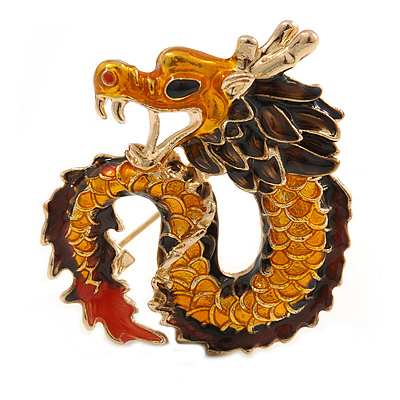 Orange/ Brown/ Red Enamel Chinese Dragon Brooch In Gold Tone Metal - 40mm Tall