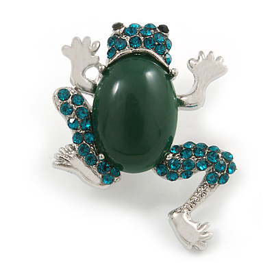 Small Green Crystal Frog Brooch In Silver Tone - 35mm Tall