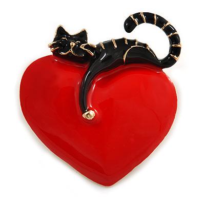 Romantic Black Enamel Cat With Red Enamel Heart Brooch In Gold Tone - 45mm Tall