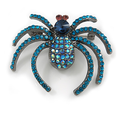 Statement Crystal Spider Brooch In Black Tone Metal (Teal/ Blue) - 50mm Across
