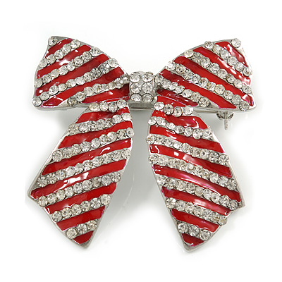 Large Enamel Crystal Bow Brooch (Red) - 65mm Across