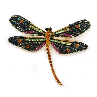 Statement Orange/ Green/ Fuchsia Crystal Dragonfly Brooch In Gold Tone - 60mm Across
