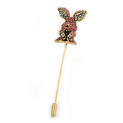 Vintage Gold Tone Clear/ Pink Crystal Happy Easter Bunny Lapel, Hat, Suit, Tuxedo, Collar, Scarf, Coat Stick Brooch Pin - 65mm L