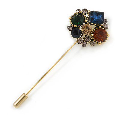 Vintage Gold Tone Multicoloured Crystal Cluster Lapel, Hat, Suit, Tuxedo, Collar, Scarf, Coat Stick Brooch Pin - 65mm L