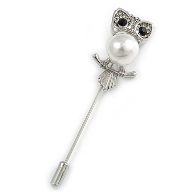 Silver Tone Clear Crystal, Faux Glass Pearl Owl Lapel, Hat, Suit, Tuxedo, Collar, Scarf, Coat Stick Brooch Pin - 65mm L
