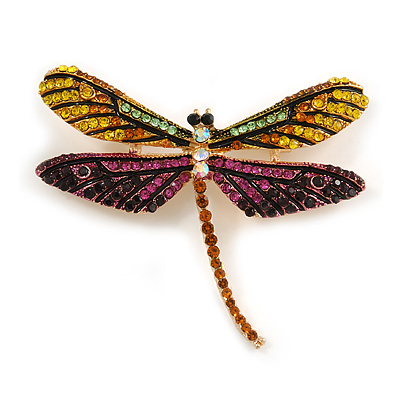 Statement Yellow/ Green/ Fuchsia/ Black Crystal Dragonfly Brooch In Gold Tone - 60mm Across