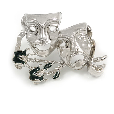 Silver Tone Comedy & Tragedy Masks Drama Music Theatre Acting Brooch - 50mm Across