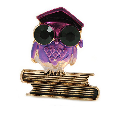 Vintage Inspired Wise Owl Brooch In Gold Tone - 38mm Tall