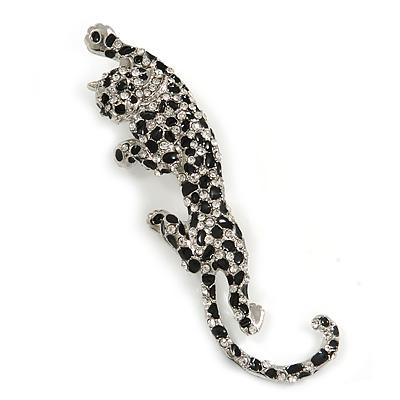 Large Silver Tone Black Enamel Crystal Leopard Brooch - 10cm Long