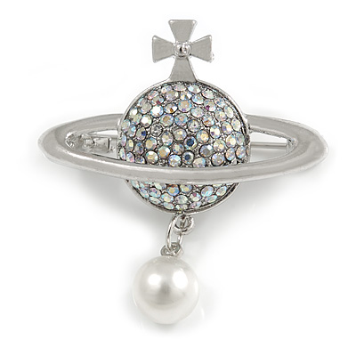 Small Silver Tone AB Crystals 'Sovereign's Orb' with Pearl Bead Brooch - 35mm Across