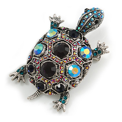Vintage Inspired Blue/ Pink Crystal Turtle Brooch/ Pendant in Aged Silver Tone Metal - 60mm Long