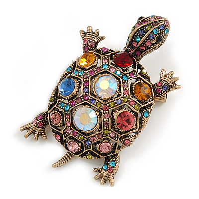 Vintage Inspired Multicoloured Crystal Turtle Brooch/ Pendant in Aged Gold Tone Metal - 60mm Long