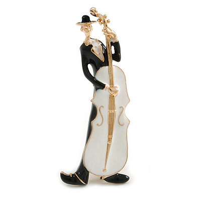 Black/ White Enamel Сontrabass Cello Player Brooch In Gold Tone - 65mm Tall