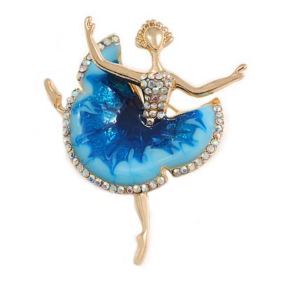 AB Crystal Blue Enamel Ballerina Brooch In Gold Tone Metal - 47mm Tall