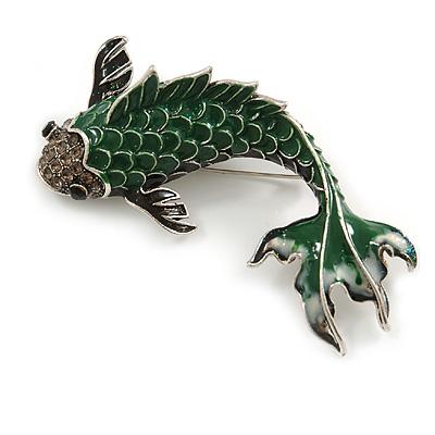 Large Green/ Grey Enamel Koi Fish Brooch In Silver Tone - 75mm Long