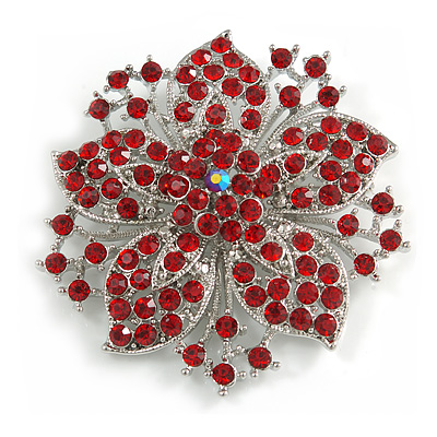 Statement Corsage Red Crystal Flower Brooch In Silver Tone Metal - 55mm Diameter - main view