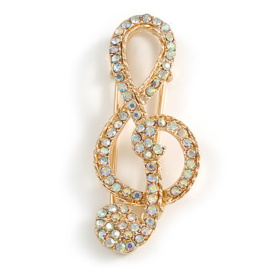AB Crystal Treble Clef Safety Pin Brooch In Gold Tone - 50mm Long