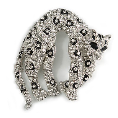 Large Stunning Black Enamel, Clear Austrian Crystal Panther Brooch In Silver Tone Finish - 65mm Across