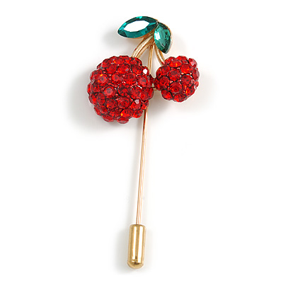 Gold Tone Red Crystal Green Enamel Cherry Lapel, Hat, Suit, Tuxedo, Collar, Scarf, Coat Stick Brooch Pin - 63mm Long