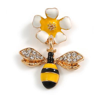 Small Yellow/ Black Enamel Crystal Bee Brooch In Gold Tone - 35mm Long