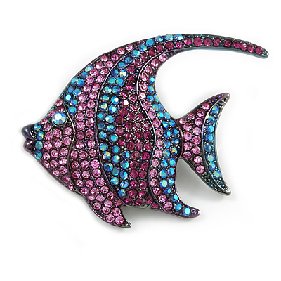 Statement Pink/ Purple/ Blue Crystal Fish Brooch In Gun Metal Finish - 55mm Long