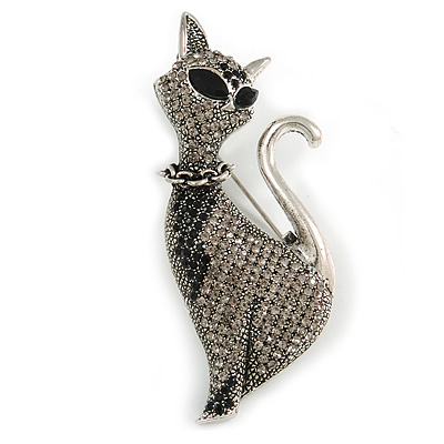 Black/ Grey Crystal Kitty/ Cat Brooch In Silver Tone Metal - 70mm Tall