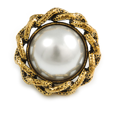 Vintage Inspired Pearl Button Brooch in Aged Gold Tone - 30mm Diameter