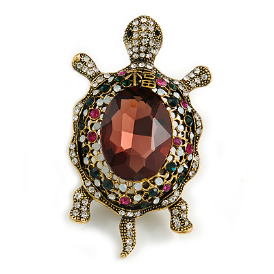 Stunning Plum/ Magenta/ Green Crystal Turtle Brooch In Aged Gold Tone - 75mm Long