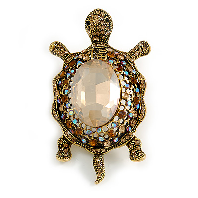 Stunning AB/ Champagne/ Topaz Crystal Turtle Brooch In Aged Gold Tone - 75mm Long