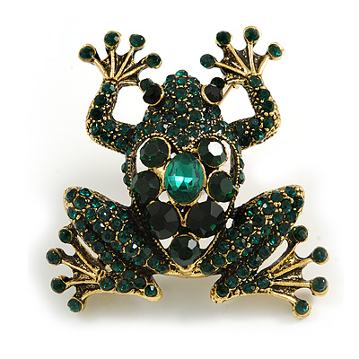 Vintage Inspired Dark Green Crystal Frog Brooch in Aged Gold Tone - 50mm Tall