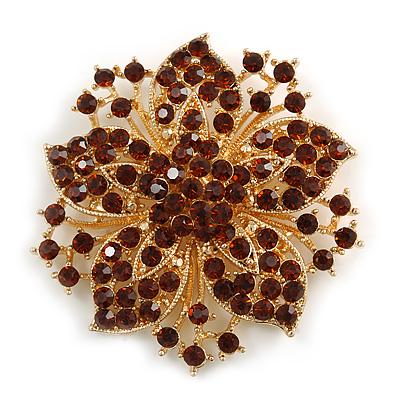 Statement Corsage Topaz Crystal Flower Brooch In Gold Tone Metal - 55mm Diameter - main view