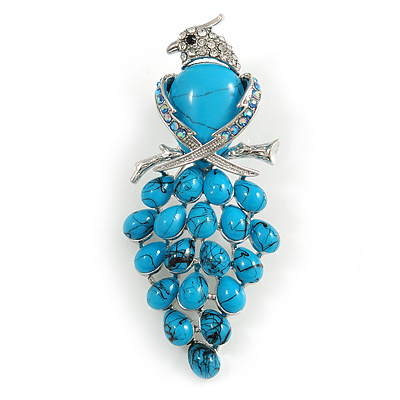 Stunning Turquoise Stone & Clear/ AB Crystal Bird Brooch In Silver Tone - 70mm Tall