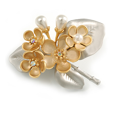 2 Tone Matte Faux Pearl Floral Cluster Brooch (Gold/ Silver) - 50mm Across