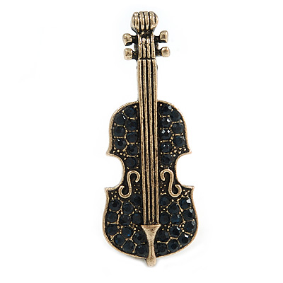 Vintage Inspired Aged Gold Tone Midnight Blue Crystal Violin Musical Instrument Brooch - 45mm Tall